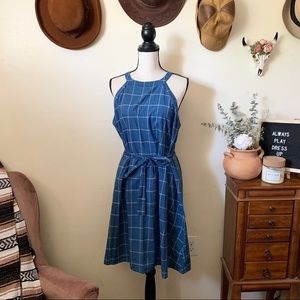 A New Day Sleeveless Windowpane Halter Dress